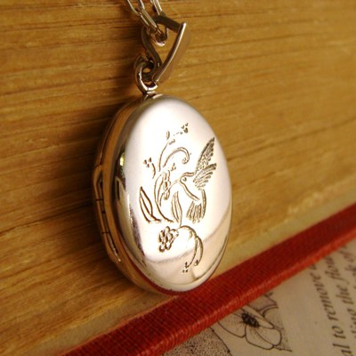 Silver Hummingbird Locket