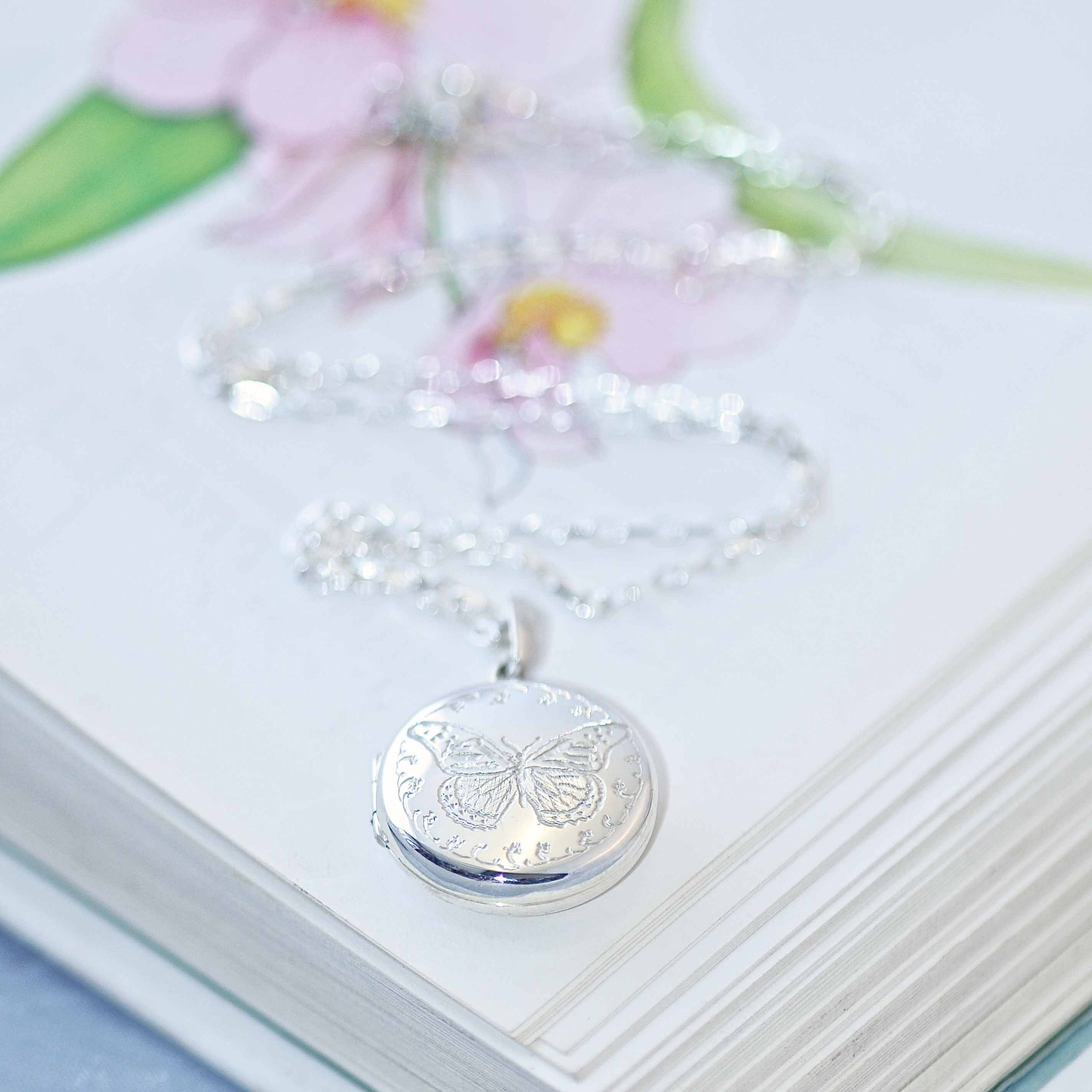 Silver Butterfly Locket