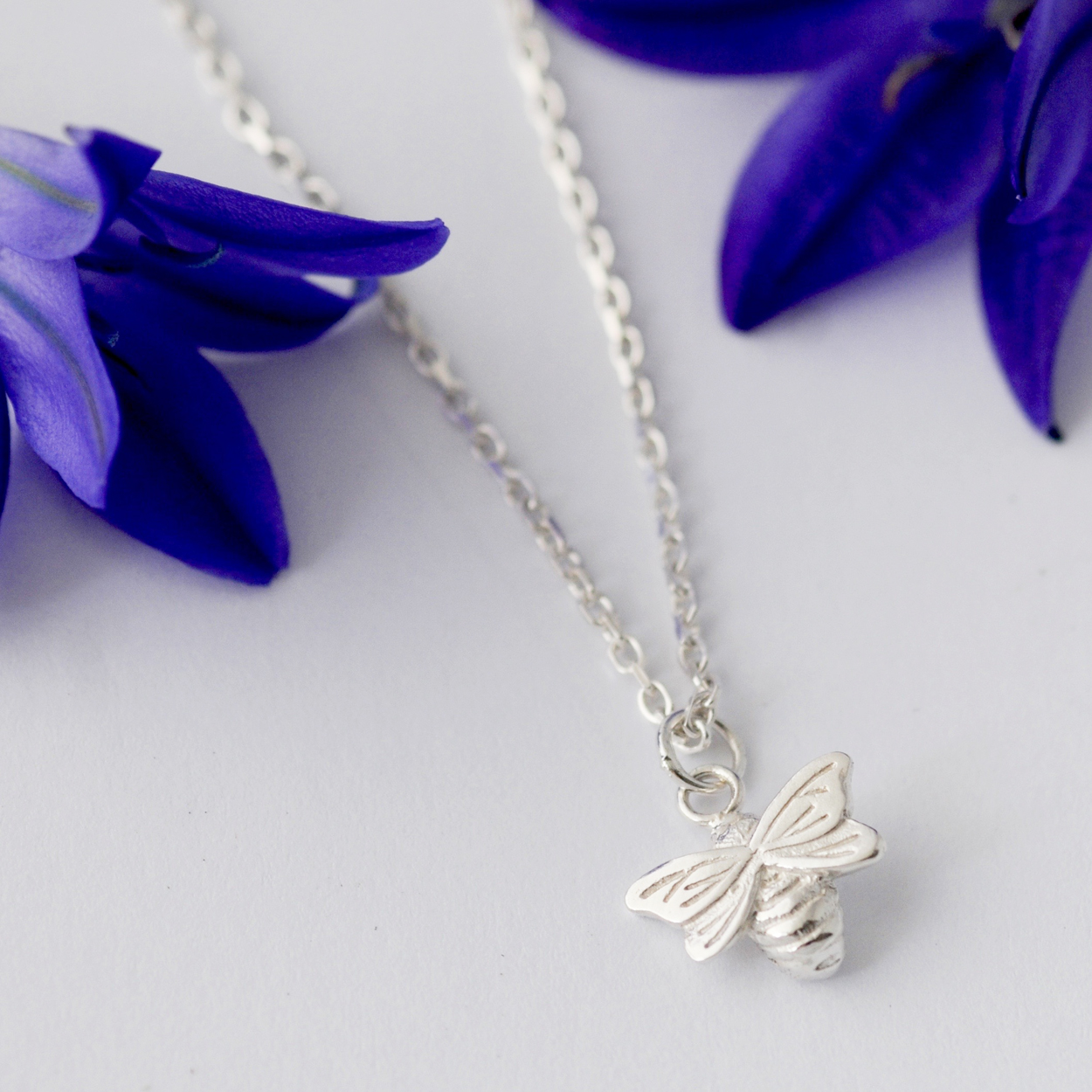 Dainty Silver Bee Necklace