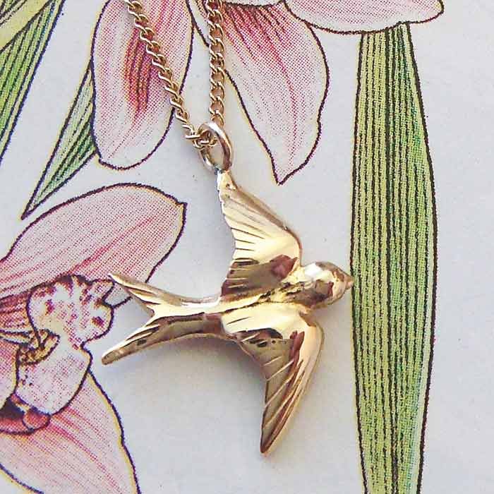 Swallow Necklace, Gold