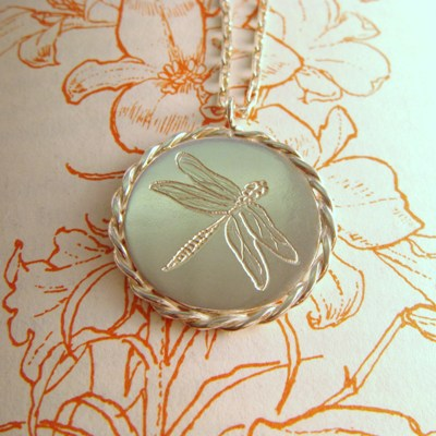 Engraved Dragonfly Necklace