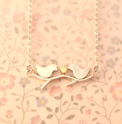 Silver & 9ct Gold Lovebirds Necklace