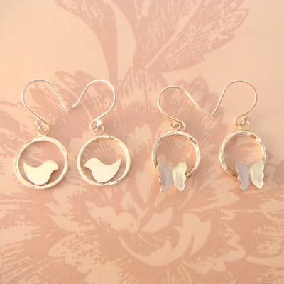 Lovebird & Butterflies Cradle Earrings