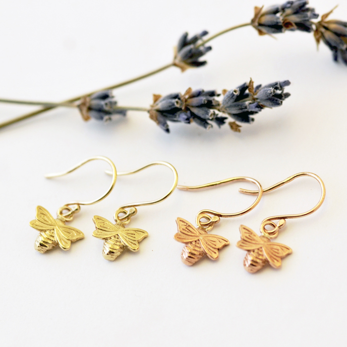 Bee Earrings, Gold