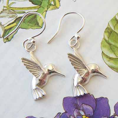 Silver Hummingbird Earrings