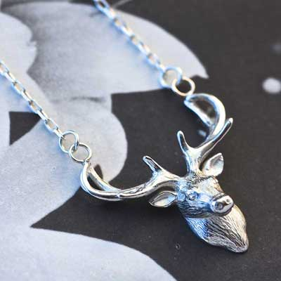 Stag's head necklace