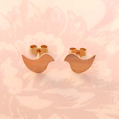 Rose Gold Lovebirds Studs