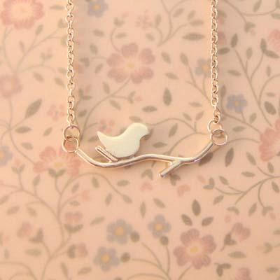 Single Lovebird on a Branch Necklace