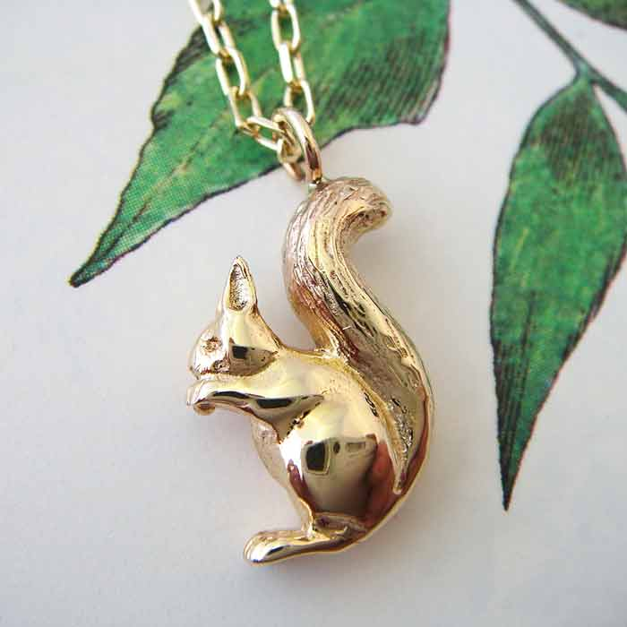 Gold Squirrel Necklace