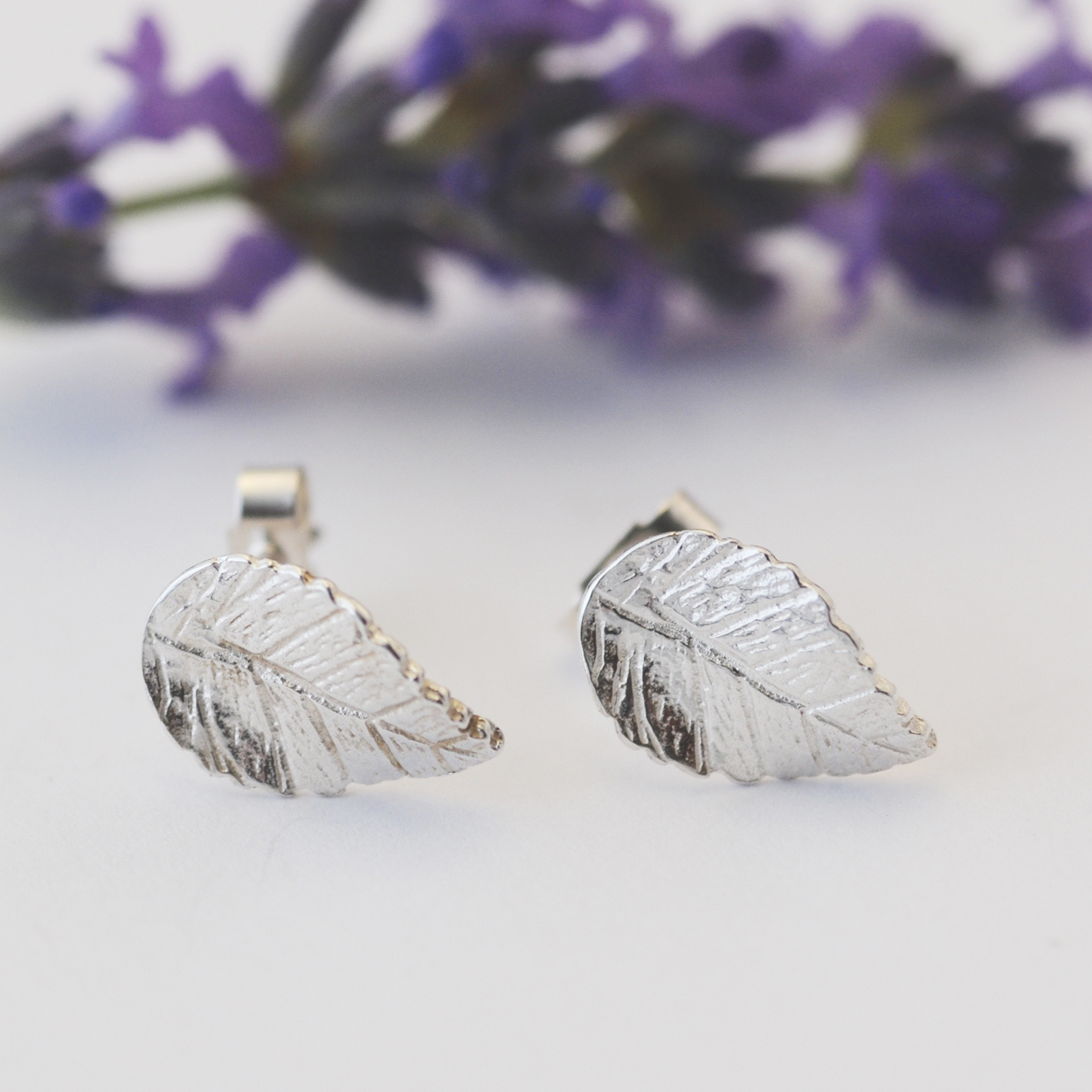 Leaf Earrings, Silver