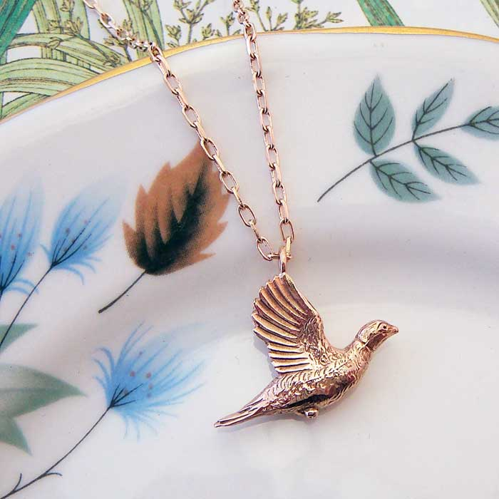 Pheasant Necklace, Rose Gold