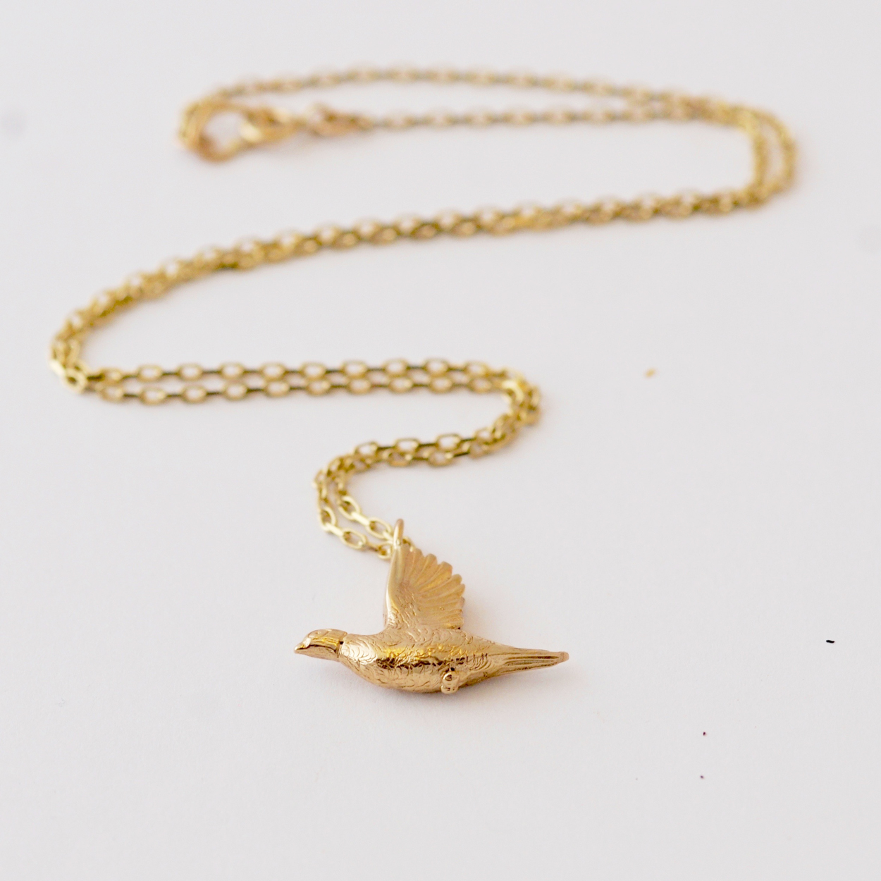 Pheasant Necklace, Yellow Gold