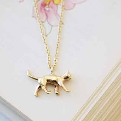 Cat Necklace, Gold