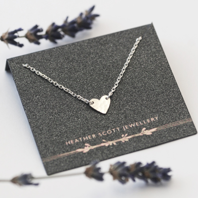 Tiny Hammered Heart Necklace